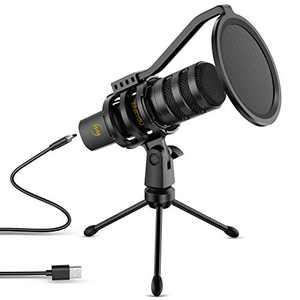 USB Microphone ZINGYOU Computer Gaming Microphone Condenser Mic 192kHz/24Bit for Streaming Podcasts YouTube Skype Twitch Compatible with Windows macOS Laptop PC, ZY-UD1 Black