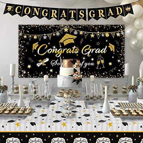 "Graduation Decorations 2021, Graduation Party Supplies, Large Graduation Banner Backdrop, Graduation Tablecover (107""x 52"") and Graduation Party Banner Backdrop (70.8""x42.9"")(Black)"
