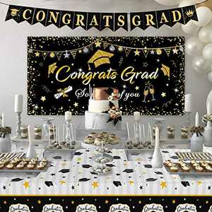 "Graduation Decorations 2021, Graduation Party Supplies, Large Graduation Banner Backdrop, Graduation Tablecover (107""x 52"") and Graduation Party Banner Backdrop (70.8""x42.9"")(Black)"