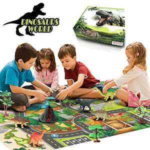 Dinosaur Toys with Activity Play Mat & Trees,KBG 22 Educational Realistic Dinosaur Figures Playset Including T-Rex Triceratops and Doll for Creating a Dino World,Toys for 2 3 4 5 Old Boys Kids Girls