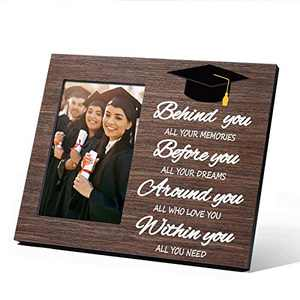 2021 Graduation Gifts for Him Her, Class of 2021 Grad Present Inspirational High School Masters Degree College Graduation Gifts for Men Women, Small Picture Frame 4x6 Wood