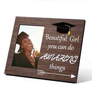 Inspirational Graduation Gifts for Her 2021, Beautiful Girl You Can Do amazing things Class of 2021 Graduation Gift Grad Present High School College Graduation Gifts for Her, Picture Frame 4x6 Wood