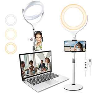 """8"""" Laptop Ring Light for Computer Video Conference, Wixann Desk Selfie RingLight with Stand and Phone Holder for Zoom Meeting Recording, Live Stream, Makeup, YouTube, Tiktok, Webcam Light (White)"""