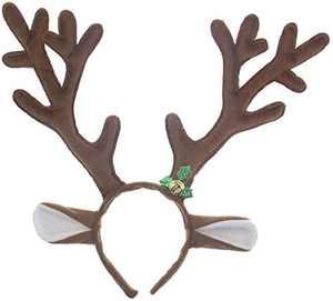 MOOSENG Christmas Reindeer Antlers Headband, Deer Antlers Headband with Bells Cute Christmas Reindeer Ears Headband, Fits for Adults and Children