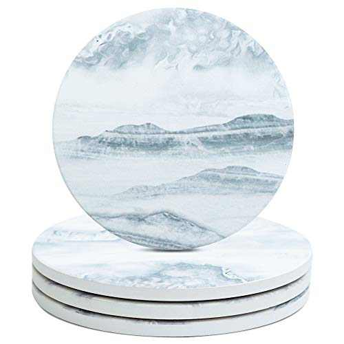 PaurFu Drink Coasters for Wooden Table, Premium Cup Coasters Set of 4, Absorbent Coasters with Cork Base for Cups, Mugs and Tabletop Protection, Great Gifts for Relatives Friends《Misty Mountain》