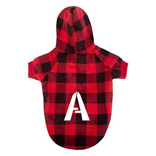 Hozz Dog Hoodie Pet Sweatshirt Clothes Doggie Sweater Pajamas with Hat Plaid Red M