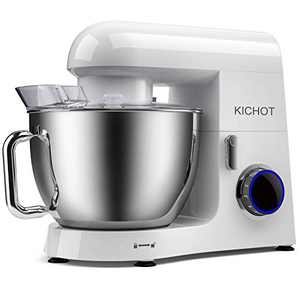 KICHOT Stand Mixer, 800W Powerful Metal Housing Electric Tilt Head Food Mixer, 8.5QT Kitchen Mixer with Dough Hook, Flat Beater, Wire Whisk and Splash Guard (White)