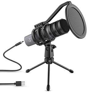ZINGYOU USB Microphone Computer Mic for Gaming Podcasting Recording Vocals Singing 192kHz/24Bit Compatible with Windows macOS Laptop Plug & Play, ZY-UD1 Gray