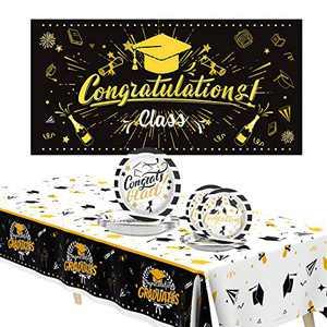Graduation Decorations 2021,Graduation Party Decorations Black and Gold Graduation Party Supplies 2021-Graduation Backdrop-Graduation Disposable Paper Plates-Graduation Tablecloth Serves 24 Guests