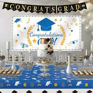 "Graduation Decorations 2021, Graduation Party Supplies, Large Graduation Banner Backdrop, Graduation Tablecover (107""x 52"") and Graduation Party Banner Backdrop (70.8""x42.9"")(Blue)"