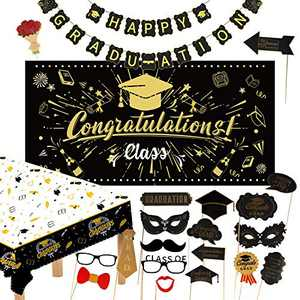 Graduation Decorations 2021 Black and Gold 22pcs Party Decorations 2021 Graduation Party Backdrop-Graduation Banner-Party Tablecloth-Party Photo Props Party Graduation Party Supplies Party Gifts 2021