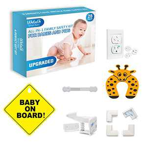 Baby Proofing Kit - Baby Home Safety All-in-one Solution with Hidden Cabinet Locks, Adjustable Strap Latches, Corner Guards, Outlet Plug Covers and Finger Pinch Guards