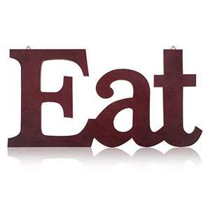 Wood Eat Sign Wall Decor Kitchen Hanging Wall Plaque Farmhouse Decor Wooden Decorative Eat Letter Wall Art with Hanging Hole for Home Kitchen Dining Living Room Decoration (Red)
