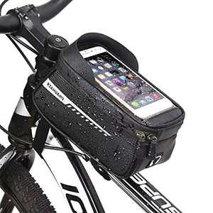 KENAST Bike Phone Front Frame Bag Bicycle Bag Waterproof Bike Phone Mount Top Tube Bag Bike Phone Case Holder Accessories Cycling Pouch Compatible with iPhone 11 XS Max XR Fit 6.5