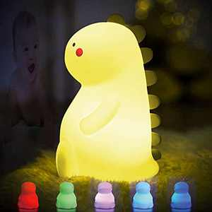 Dinosaur Night Light for Kids,Tap it to Color Changing Silicone Lamp for Bedroom,Fun Toys Gifts for 1-8 Year Old Boys