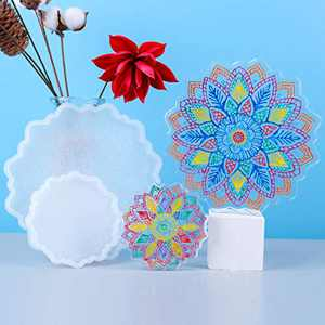 Resin Coaster Molds,2Pcs Coaster Molds,Silicone Coaster Molds for Resin Casting,Sun Flower Shaped Epoxy Resin Molds for Resin Craft DIY Cups Mats, Home Decoration