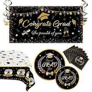 Graduation Decorations 2021, Graduation Party Supplies Includes Graduation Plates, Graduation Napkins, Tablecloth, Banner and Hanging Swirls(Black)