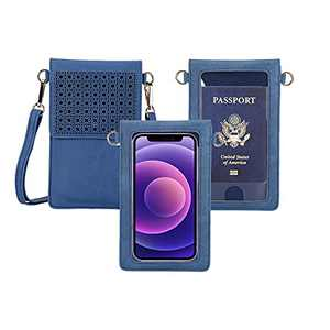 AnsTOP Lightweight Leather Phone Purse, Small Crossbody Bag Mini Cell Phone Pouch Shoulder Bag with Strap for Women (Vintage Blue)
