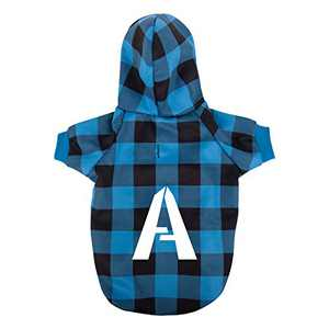 Dog Hoodie Pet Sweatshirt Clothes Doggie Sweater Pajamas with Hat Plaid Blue S