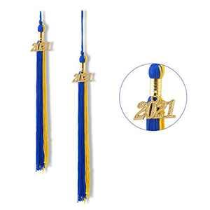 """Graduation Tassel 2021, Tassels for Graduation Cap 2021, 2021 Tassel Charm, 9"""" Graduation Tassels(Blue and Gold)"""