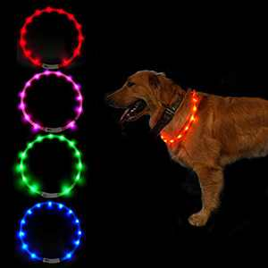 SUNET LED Dog Collars USB Rechargeable Adjustable Silicone 3 Flashing Modes Water Resistant Glowing PET Dog Collar for Night Safety Light UP Dog Collar for Small Medium Large Dogs (Pink)