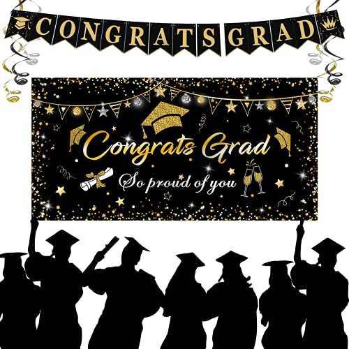 """Graduation Decorations 2021, Graduation Party Supplies, Large Graduation Banner Backdrop, Black Graduation Party Banner Backdrop (70.8""""x42.9"""") and Graduation Party Banner (90.5""""x7.4"""")(Black)"""