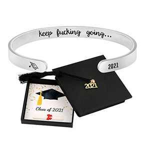 Inspirational Graduation Bracelet 2021 for women Girls College Senior Cuff New Grad Jewelry Gift Keep Going