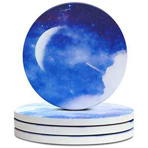 PaurFu Coasters for Drinks Absorbent, Round Ceramic Coaster Set of 4, Coasters with Cork Base for Glasses, Cups and Tabletop Protection, Great Gifts for Housewarming Home Decoration《Starry Sky》