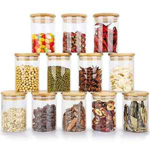 12 Pack Glass Spice Jars 7oz Glass Storage Jars with Bamboo Lids Air Tight Kitchen Containers for Storage Canister Set for Jam Tea Coffee Cookie Snack Flour Spice Jars Home Kitchen (12 Pack/8OZ)
