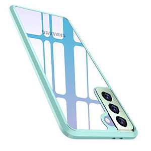 WISMAT Samsung Galaxy S21 Plus Case - Clear Case Compatible with Samsung Galaxy S21 Plus 6.7 Inch 5G Slim Thin Hard PC Back Cover & Flexible Bumper for Galaxy S21 Plus Phone Case, Blue Bumper