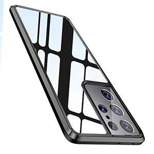 """WISMAT Samsung Galaxy S21 Case - Clear Case Compatible with Samsung Galaxy S21 6.2"""" [Never Yellow] Slim Thin Protective Phone Case Hard PC Back & Flexible Bumper Cover for Galaxy S21, Black Bumper"""