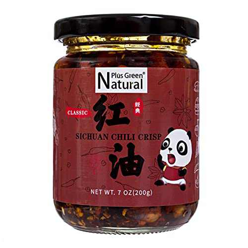 Natural Plus Green Classic Sichuan Chili Crisp 200g, Crunchy Fried Hot Chili Peppers Oil Sauce with Peanut, Pea, Ready to Eat and Use as Topping, Sauce, Condiment