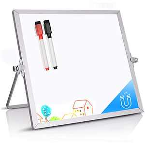 "Dry Erase White Board -Double-Sided Magnetic Desktop Whiteboard with Stand, 10"" X 10""Portable Easel Board for Kids Learning Drawing Home Office Memo School"