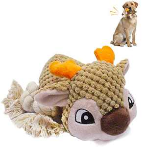 AKETCH Dog Squeaky Toy Plush Pet Toy Interactive Wapiti Dog Chew Toy Doggie Teething Toy Animals Natural Puppy Toys for Small Medium Large Doggy