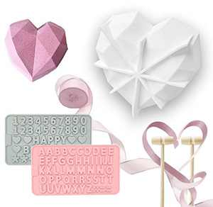 Diamond Heart Shape Silicone Cake Mold,Not Sticky Silicone Mousse Baking Pan Tins, 2 Chocolate Moulds 2 Wooden Hammersand 1 Ribbon Used for Valentine's Day Home Kitchen DIY Baking Tools
