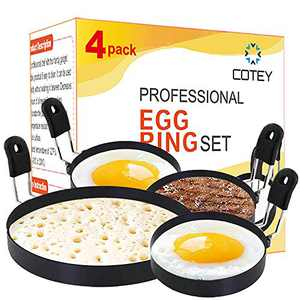 """COTEY 1x Large 6"""" Pancake Mold & 3x 3.5"""" Nonstick Egg Rings Set of 4, Round Crumpet Ring Mold Shaper for English Muffins Pancake Cooking Griddle- Portable Grill Accessories for Camping Sandwich Burger"""
