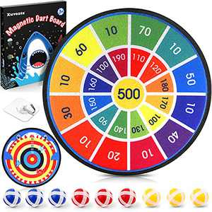 Xuvozta Dart Board for Kids with 9 Sticky Balls,Safe & Classic Kids Dart Board Game-14 Inches,Perfect Christmas Birthday Gift for Kids with Colorful Box Package (Shark)