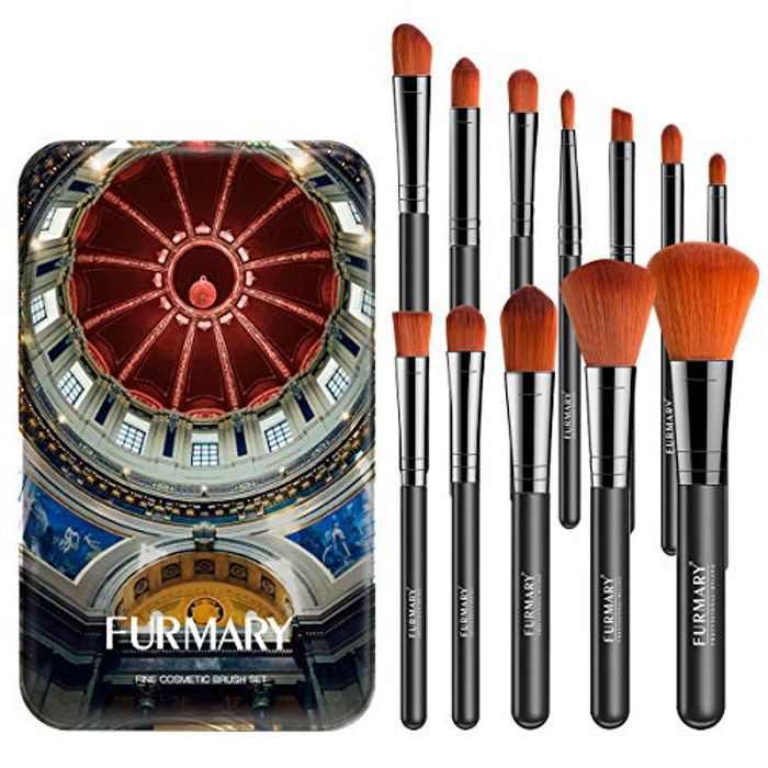Makeup Brushes FURMARY Makeup Brushes Set With Case Professional 12-Piece Make Up Brushes Premium Synthetic Foundation Brush Blending Face Powder Blush Concealers Eye Cosmetics Make Up Brush Kits