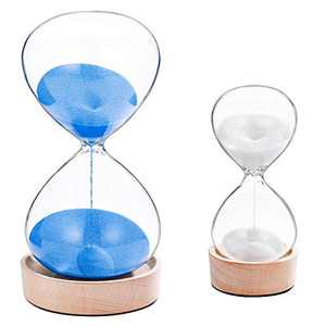 SuLiao 60 Minute Hourglass Sand Timer 5 Minute Set: Large Blue & White Sand Clock with wooden Base,Sand Watch Five Min,Reloj De Arena 1 Hora,Vintage Hour Glass Sandglass for Office Desktop Decoration