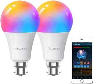 Smart WiFi Light Bulb B22,Compatible with Alexa & Google Home, Mezone B22 RGB Color Changing Light Bulb with APP ,No Hub Required,Dimmable Smart Led Bulb 7W 60W Equivalent,2 Pack
