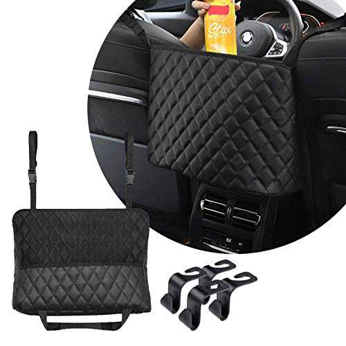 Car Front Seat Leather Organizers and Storage, with 4 Seat Back Hooks, Tissue Holder, Purse Holder for Car, Car Accessories for Women