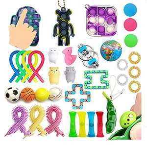 HANGYUAN 35Pcs Fidget Sensory Toy Set, Cheap Fidget Toys Pack with Bubble Keychain Ball ,Push Pop Bubble Bundle Anti-Anxiety Toys(35Pcs-Bundle)