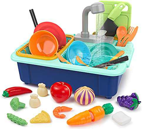 Geyiie Kitchen Sink Toys for Kids Pretend Play, Electric Dishwasher with Running Water, 29PCS Cutting Food and Tableware, Educational Dishwashing Playset Gift for Boys Girls