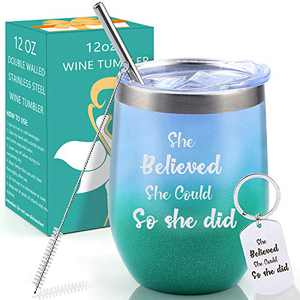Inspirational Gifts for Women, Unique Graduation Birthday Gifts She Believed She Could So She Did Wine Tumbler with Lid for Best Friends Her Stainless Steel Insulated Coffee Mug 12OZ