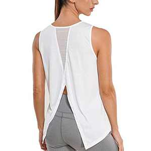 RACELO Workout Sleeveless Tops for Women Yoga Tank Tops Gym Shirts Athletic Exercise Clothes White