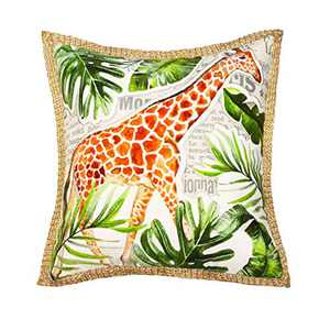 Wahdland Tropical Pillow Covers Giraffe Pillow Covers 18x18 Inch Home Décor Outdoor Summer Pillowcases Printed Cushion Cover for Sofa Green, Single