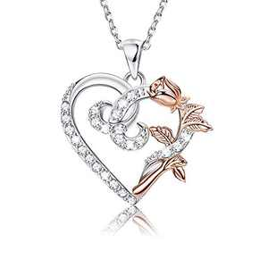 Sllaiss Mom Necklace Sterling Silver Rose Flower Necklace for Women S925 Heart Necklace 18'' Flower Necklace Mother's Day Necklace