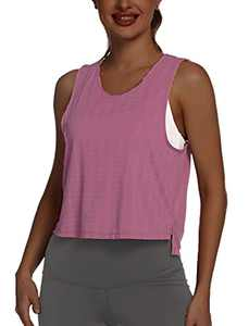 Tremaker Women's Sleeveless Workout Shirts Exercise Running Tank Tops Active Gym Tops Rose Red