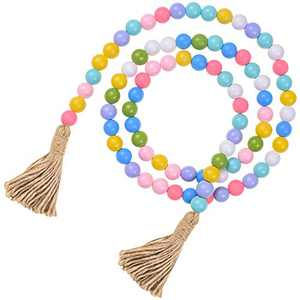 """59"""" Colorful Wood Beads Garland, Wood Bead Garland Tassel Long Tassels Garland Farmhouse Rustic Beads Tiered Tray Home Decorations"""