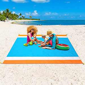 """WIWIGO Sandproof Beach Blanket, Oversized Sand Free Beach Mat 79"""" X 82"""" Suitable for 4-7 Adults, Waterproof Lightweight Picnic Mat for Travel, Camping, Hiking(White)"""